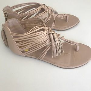 Dolce Vita Nude Leather Fringe Sandals NWOT